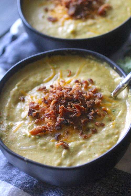 Instant Pot (or Crockpot) Skinny Broccoli Cheese Soup
