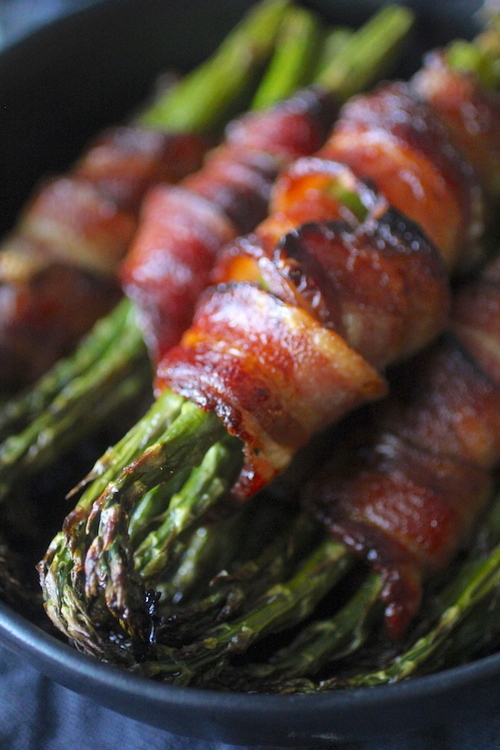 Bacon Wrapped Asparagus with Maple Glaze
