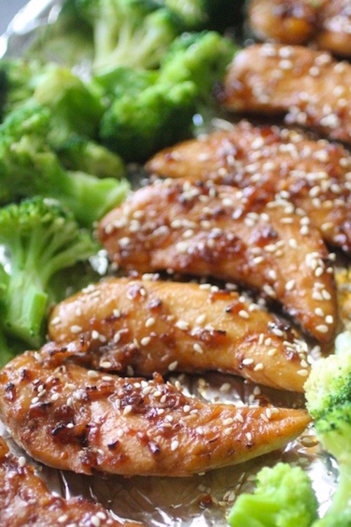 20 Minute Sheet Pan Sesame Chicken with Broccoli