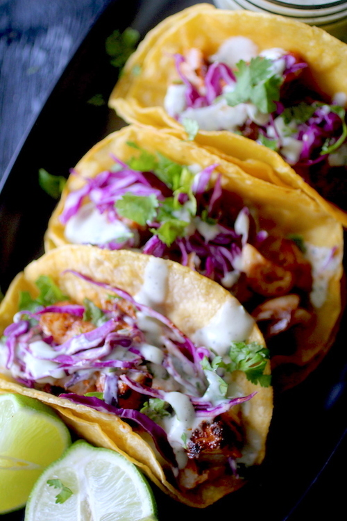 20 Minute Blackened Fish Tacos with Avocado Cream Sauce
