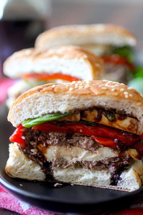Mozzarella Stuffed Caprese Burger