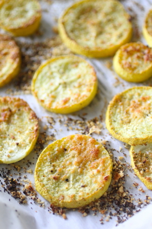 Roasted Parmesan Summer Squash Chips