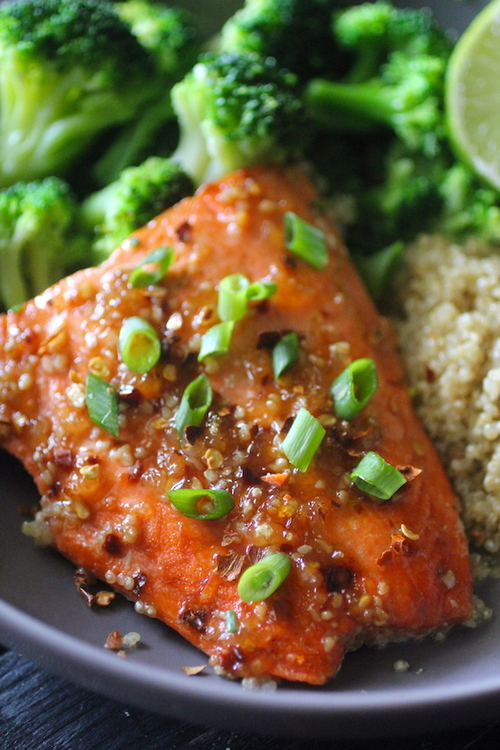 15 Minute Broiled Salmon with Thai Sweet Chili Glaze