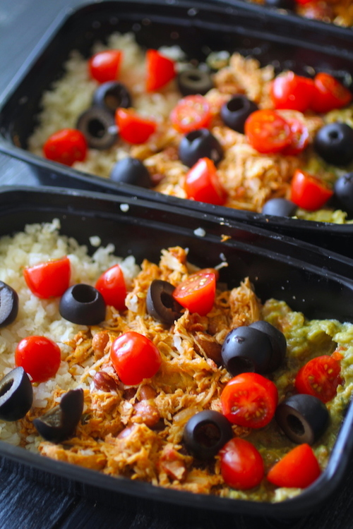 Crockpot (or Instant Pot) Low Carb Meal Prep Chicken Burrito Bowls