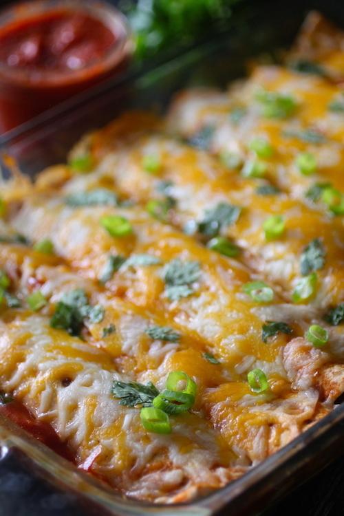 Super Simple Sweet Potato Chicken Enchiladas