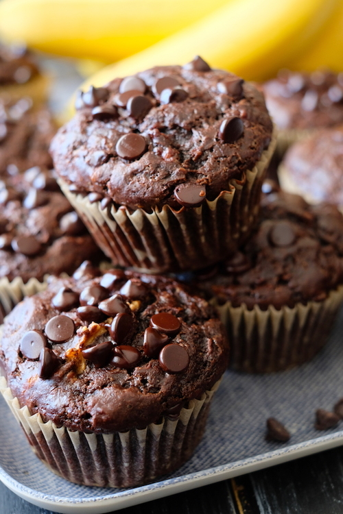 Double Chocolate Flourless Banana Bread Muffins