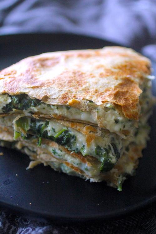 10 Minute Spinach Artichoke Quesadillas