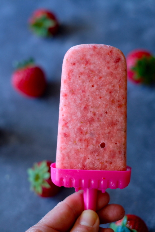 2 Ingredient Strawberry Popsicles
