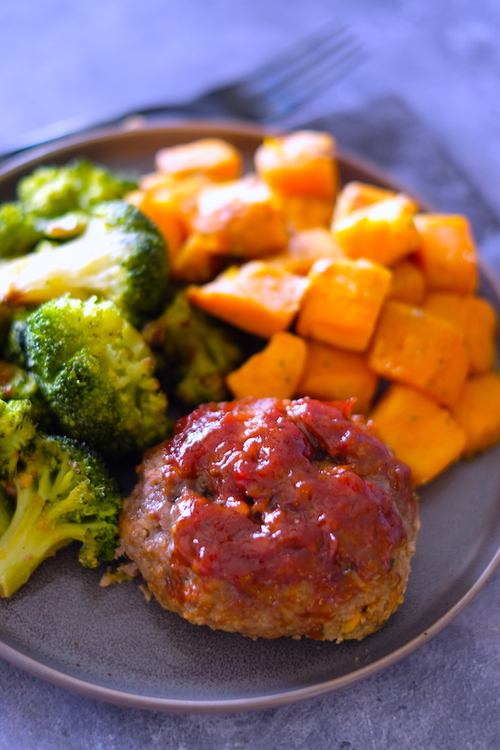 BBQ Sheet Pan Meatloaves and Veggies