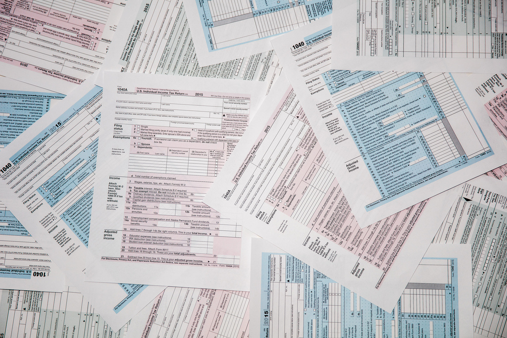 photo of IRS tax forms
