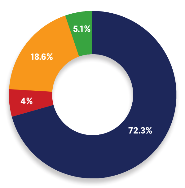 Pie chart showing proportion of RSA exhibitors with DMARC records at various status levels