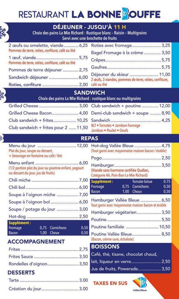 Restaurant Ski Vallée Bleue