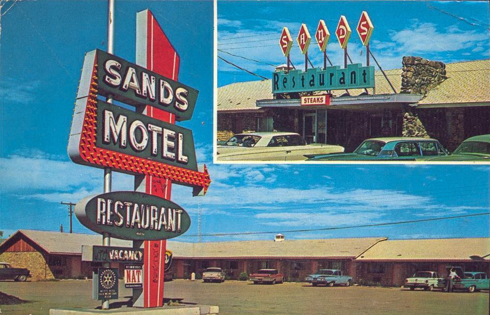 Vintage postcard of Sands Motel in it's heyday.