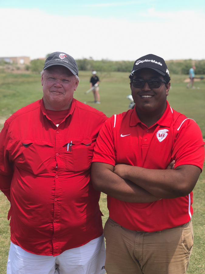 Senior Daniel Solis competed in the Regional Golf Tournament at Ratliff Ranch in Odessa this week, unfortunately, he did not advance. He is pictured with Head Golf Coach Thomas Turnbow. Photo by Brock Tyrrell