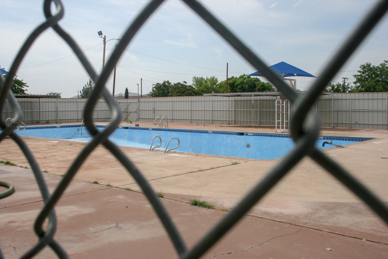 The bone-dry pool. The City Park pool is closed indefinitely due to potential liability and safety concerns. The pool, which is 45 years old, will not open this summer and plans are to either repair or replace it with a splash pad/water park type facility. -Advocate Photo