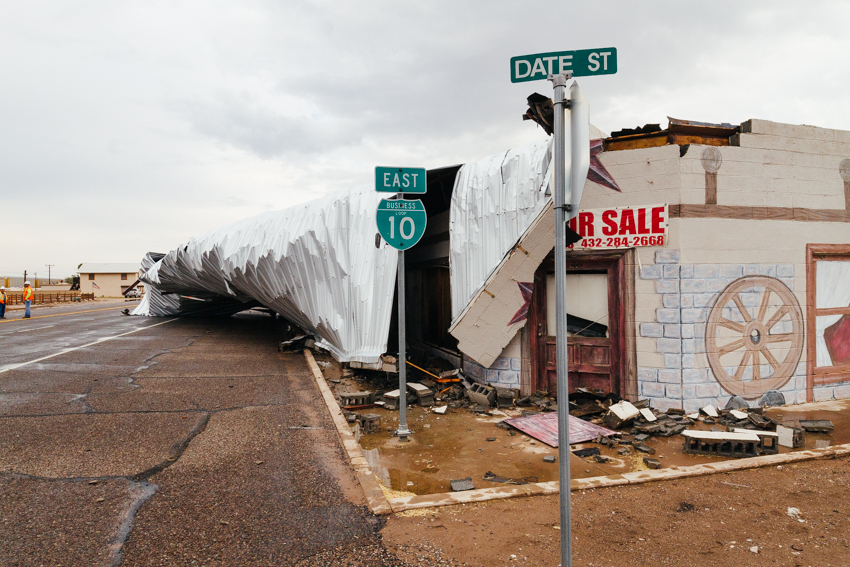 Severe storms with high winds caused damage in the downtown Van Horn area. TxDOT closed off a section of Broadway Street for several hours while crews cleaned up the scene. -The Van Horn Advocate | D.B.