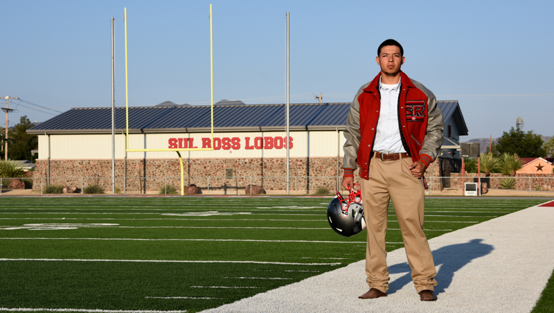 Sul Ross State University senior Fabian Baeza stands on Jackson Field in Alpine, Texas.  (Photo by Paul Slocumb)