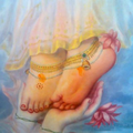 Flower Symbol on Sri Radha's Feet