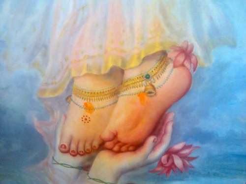 Flower Symbol on Sri Radha's Feet