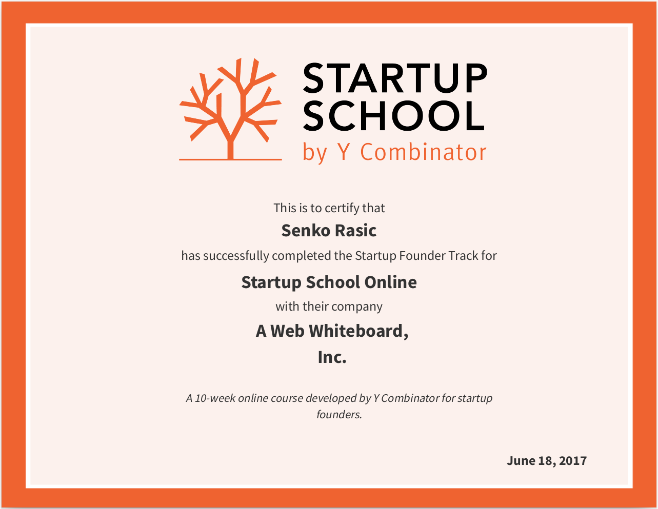 YC Startup School Completion Certificate