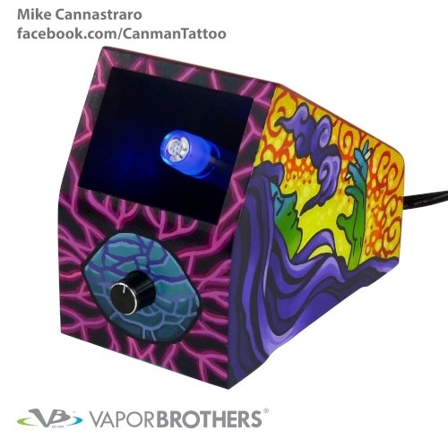 [SOLD] Canman (Mike Cannistraro) Vaporbrothers Vaporizer - Hands Free - 120V canman, mike cannistraro, art, vapor art, visionary art, vapor brothers hands free vaporizer, whip, vaporbrothers, handsfree, box vaporizer, vaporbox, ceramic, glass pipes
