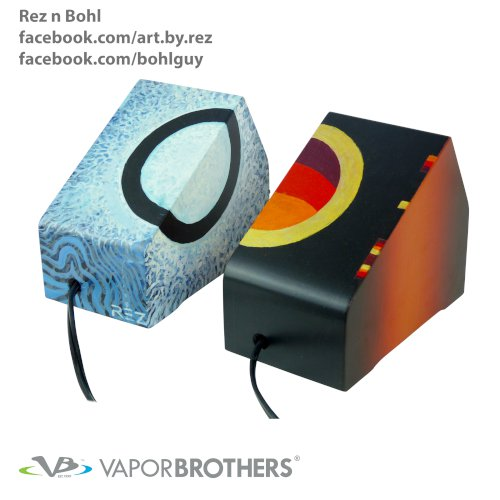 ReznBohl Vaporbrothers VB1 Vaporizers, Set of 2 units - Hands Free - 120V artbyrez, reznbohl, chrisbohlin, vapor brothers hands free vaporizer, whip, vaporbrothers, handsfree, box vaporizer, vaporbox, ceramic, glass pipes