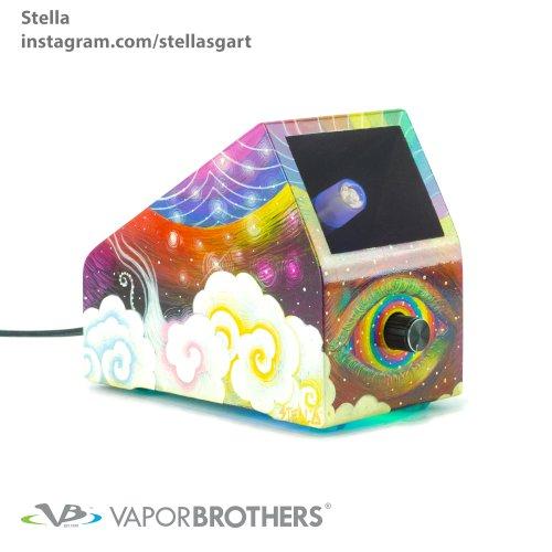Stella Vaporbrothers VB1 Vaporizer - Hands Free - 120V Stellasgart, stella, visionary art, vapor brothers hands free vaporizer, whip, vaporbrothers, handsfree, box vaporizer, vaporbox, ceramic, glass pipes