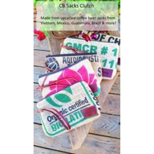 Great Gifts! - Clutches made from upcycled coffee sacks & leather