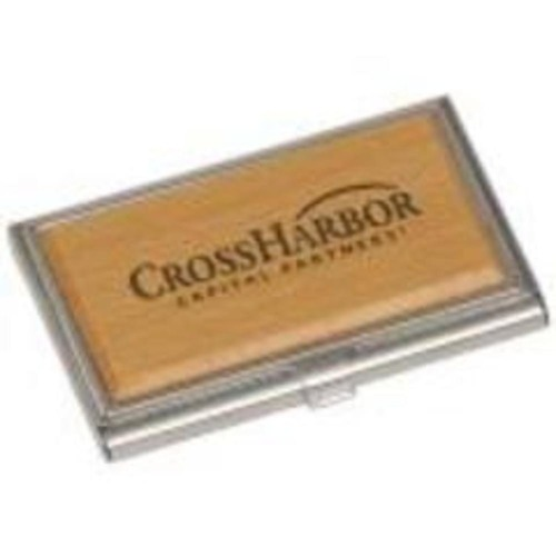 Silver and Maple Finish Wood Business Card Holder