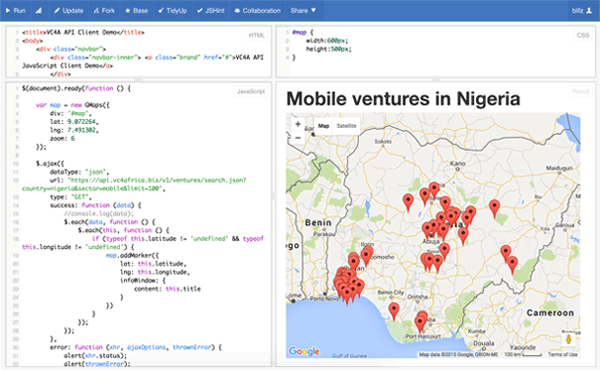 A minimal client illustrating how to retrieve ventures data from the VC4A API and plot results on a map