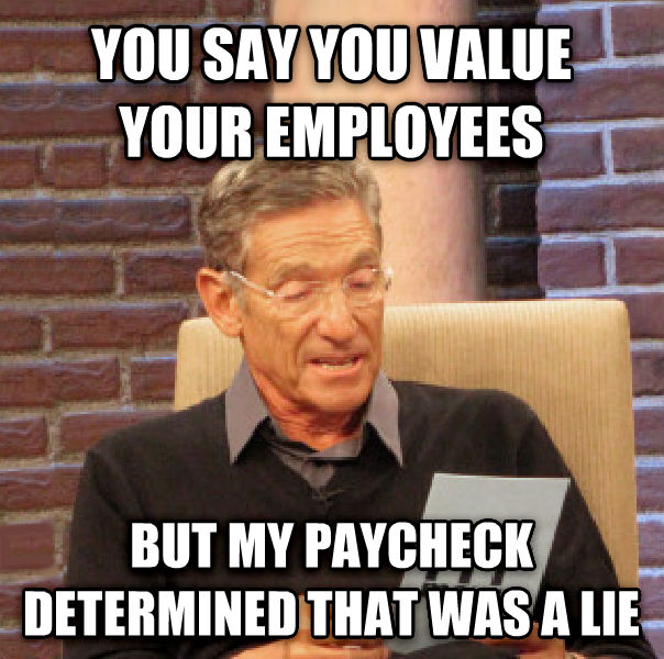 A meme about how employers value employees.