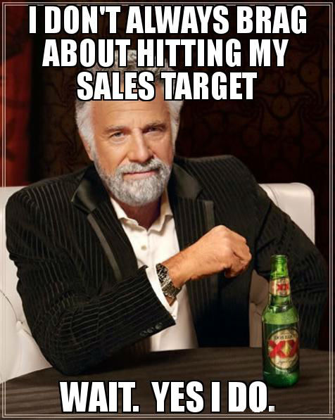 A meme about salespeople and targets.