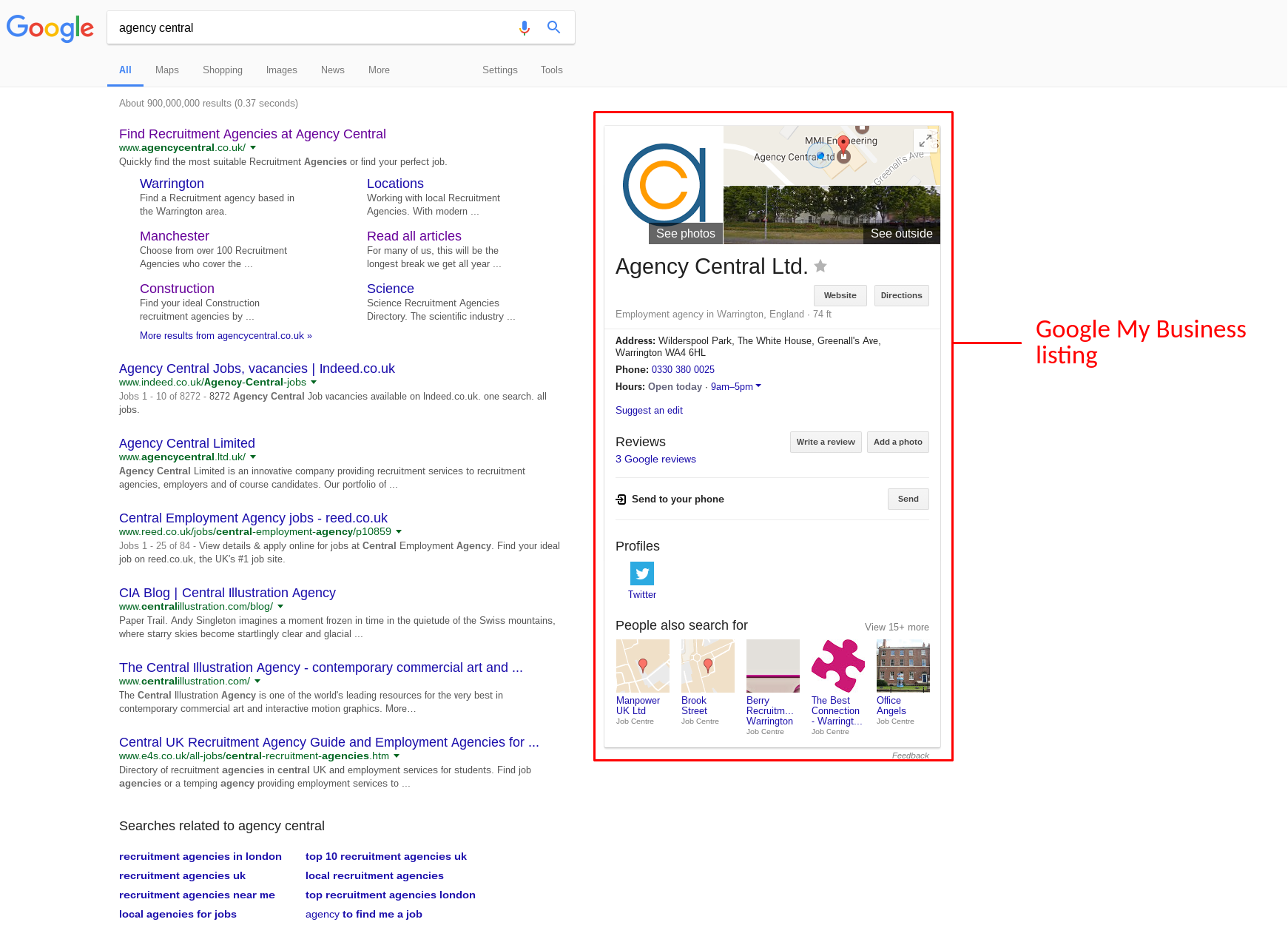 Recruitment business development how to get more leads your businesss visibility in google showing searchers information such as your physical location via google maps logo opening hours and address sciox Image collections