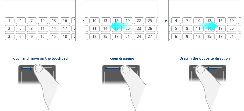 Figure 3-5. Horizontal scrolling of a continuous list using dragging actions on the raised line