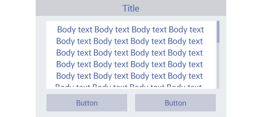 Figure 4-16. Scroll bar shown next to the scrollable body text or text list