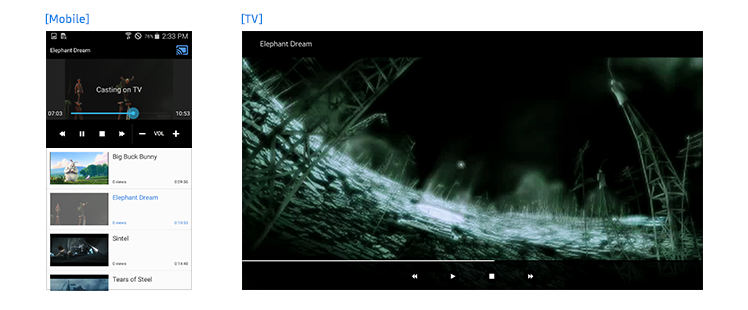 Figure 7-9. Playback synced between the mobile and TV apps