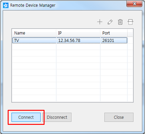 Figure 8. Connect to remote device