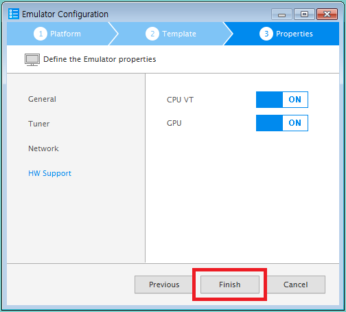 Figure 7. Finish emulator instance creation