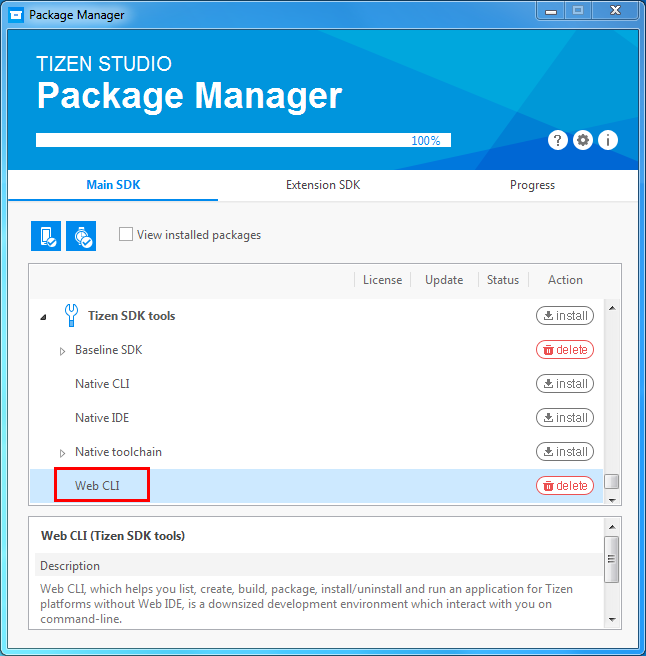 Figure 1. Web CLI package in Package Manager