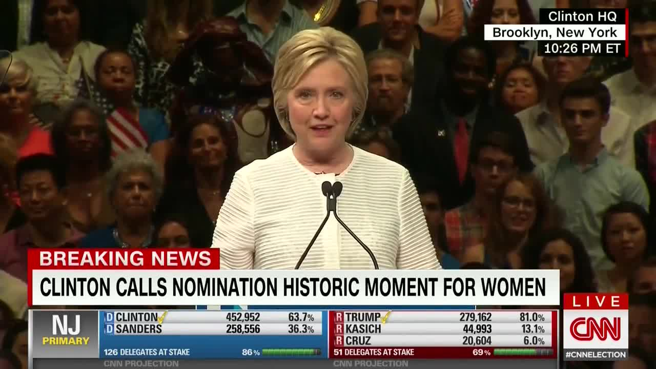 Hillary Clinton Gives A Roaring Victory Speech After Clinching The Democratic Nomination