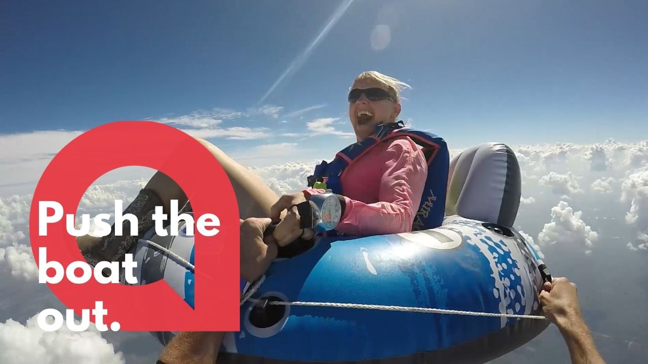 Amazing footage shows the moment a daredevil skydiver leapt from a plane sitting in a inflatable pool tube (RAW)