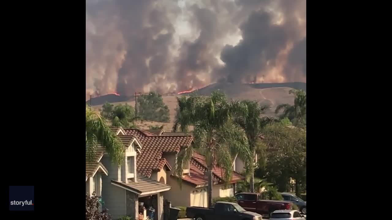 Smoke Plumes Near Chino Hills Homes as Blue Ridge Fire Burns On