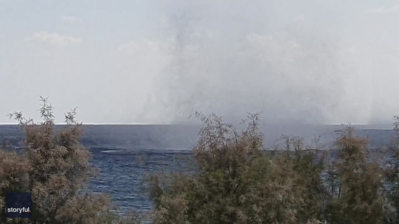 Three Waterspouts Swirl Simultaneously Off Greek Isle of Rhodes