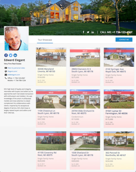 Real Estate Agent Virtual Tour Gallery Page