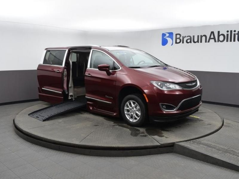 Red Chrysler Pacifica with Side Entry Automatic Fold Out ramp