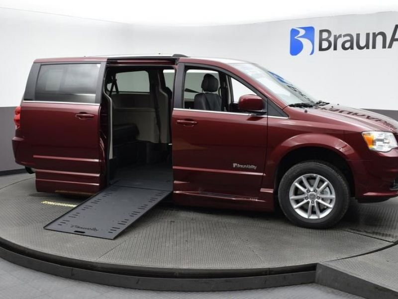 Red Dodge Grand Caravan with Side Entry Automatic In Floor ramp