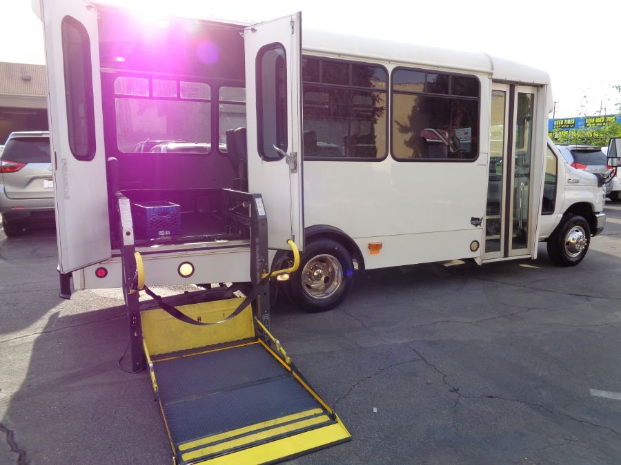 White Ford Econoline with Side Entry N/A N/A ramp