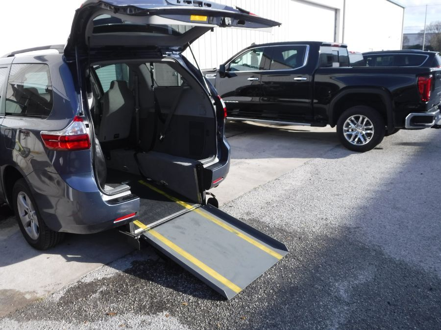 Blue Toyota Sienna with Rear Entry Automatic Fold Out ramp