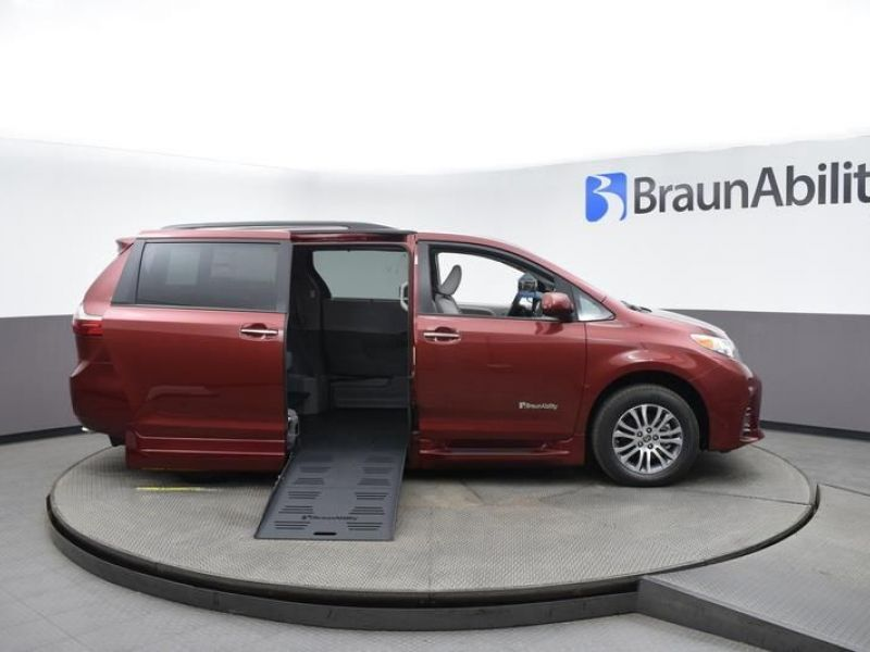 Red Toyota Sienna with Side Entry Automatic Fold Out ramp
