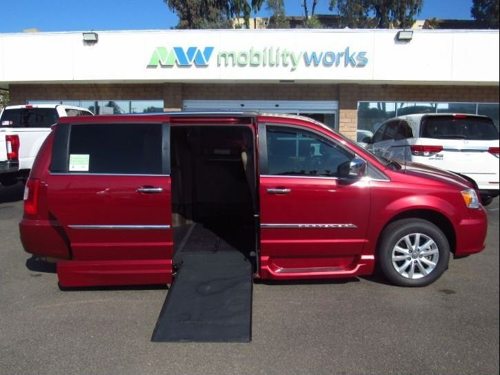 Red Chrysler Town and Country with Side Entry Automatic In Floor ramp
